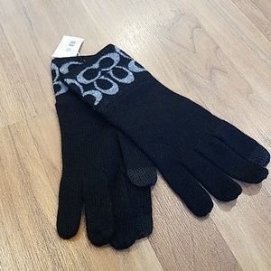 Black and Grey Coach Tech gloves